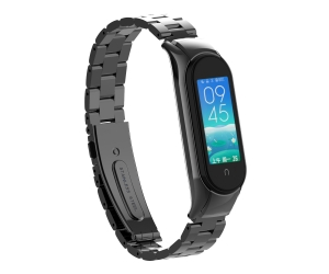 Correa de metal de acero inoxidable de 3 enlaces para Xiaomi Mi band 5 Banda de repuesto