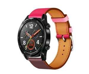 CBHW30 Single Tour Contrast Color Geniune Leather Watch Band  For Huawei Watch GT