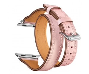 CBIW102 Double Tour T-Shape Design Genuine Leather Watch Strap For Apple iWatch