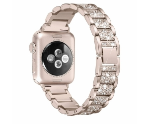 CBIW1032 Luxury Crystal Rhinestone Metal Bracelet Strap Compatible For Apple Watch