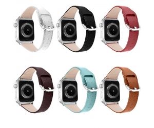 CBIW223 Correa de pulsera de repuesto de cuero genuino para Apple Watch Series 6 5 4 3 2 1 SE