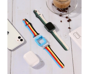 CBIW227 44mm 40mm 38mm 42mm Silicone Band For Apple Watch Series 6 5 4 3 Smart Watch Straps With Case