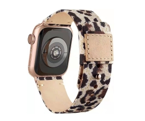 CBIW257 Hot Selling Fabric Canvas Leather Watch Strap For iWatch 38mm 40mm 42mm 44mm