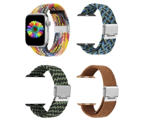 CBIW260 Adjustable Stretchy Elastics Wristbelt Braided Nylon Solo Loop Bands For iWatch Series 6/5/4/3/2/1