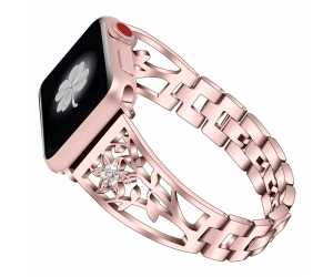 CBIW52 Floral-shaped Hollow-out Diamond Stainless Steel Watch Band For Apple Watch