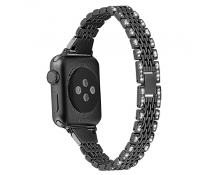 CBIW53 Banda de reloj de diamantes de cadena de 7 enlaces para Apple Watch 38mm 40mm 42mm 44mm