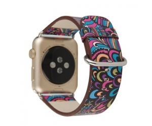 CBIW88 Pattern Printed PU Leather Watch Strap For Apple Watch