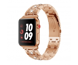 CBIW903 Apple Watch Moda Hombres Mujeres Cristal Acero inoxidable Band