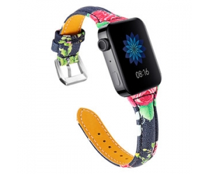CBMU5 Flower Pattern Printed Leather Watch Strap For Xiaomi Smart Watch