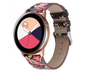 CBSW28 Floral Printed Genuine Leather Watch Band For Samsung Galaxy Watch Active