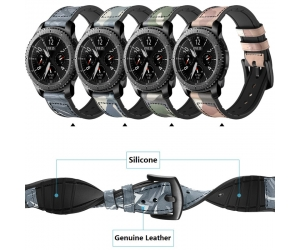 CBSW415 Camouflage Genuine Leather Silicone Replacement Band
