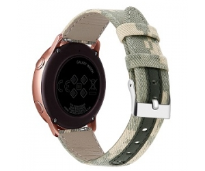 CBSW49 Canvas Leather Watch Band For Samsung Galaxy Watch Active 42mm 46mm