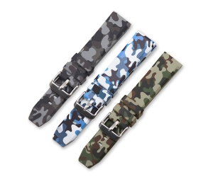 CBUS09 20mm 22mm 24mm Camo Silicone Watch Strap