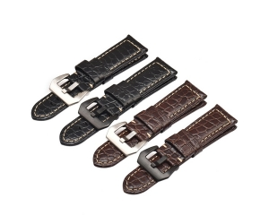 CBUS302-PDH3 Wholesale 22mm 24mm 26mm Black Brown Crocodile Pattern Genuine Leather Watch Strap