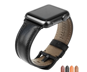 CBUW07 Banda de reloj de cuero genuino para Apple Watch 44mm 42mm 40mm 38mm