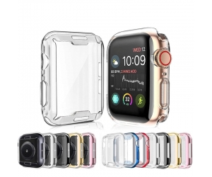 CBWC7 Soft Clear TPU Screen Protector Watch Protective Case For Apple Watch Series 6 5 4 3 SE Cover