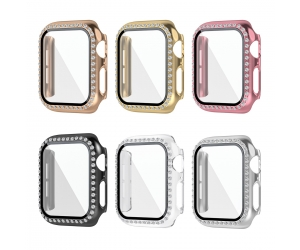 CBWC9 Luxury Bling Diamond Glass Screen Protector Smart Watch Case For Apple Watch Bumper Cover For iWatch Series 6 5 4 3 SE
