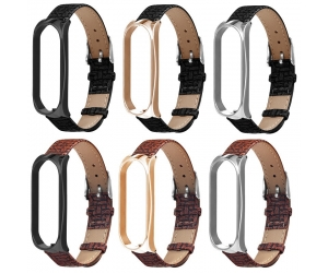 CBXM01 Trendybay  Woven Pattern Leather Wrist Strap For Xiaomi Mi Band 3