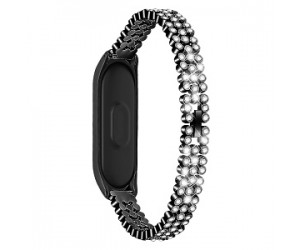 CBXM433 Mi Band 4 3 Strap Metal Watch Band Set With Rhinestone