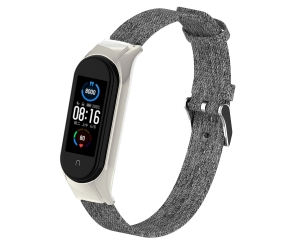 CBXM515 Denim Canvas Watch Straps For Xiaomi Mi Band 5 Smart Wristband