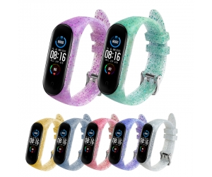 CBXM565 Glitter Soft Smart Watch Silicone Strap For Xiaomi Mi Band 5 4 3 NFC Bracelet