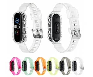 CBXM571 Jelly Clear Transparent TPU Replacement Wristband Correa Strap For Xiaomi Mi Band 6 5 Watch Belt