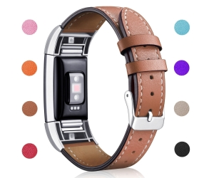Fitbit Charge 2 Classic Genuine Leather Wristband With Metal Connectors