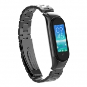 China 3-Link Stainless Steel Metal Strap For Xiaomi Mi band 5 Replacement Band factory