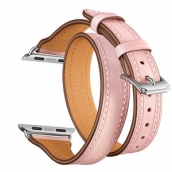 China CBIW102 Double Tour T-Shape Design Genuine Leather Watch Strap For Apple iWatch factory