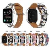 La fábrica de China CBIW215 Banda de reloj de cuero genuino con estampado de flores para Apple Watch 38 mm 42 mm 40 mm 44 mm