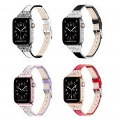 China CBIW231 Bling Diamond keramische lederen horlogeband voor Apple Watch 44 mm 40 mm 42 mm 38 mm fabriek
