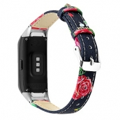 China CBSW43 Flower Printed Leather Watch Band For Samsung Galaxy Fit R370 factory