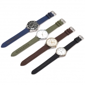 China CBUS103 Custom 18mm 20mm 22mm 24mm Quick Release Wrist Strap Genuine Leather Canvas Watch Band factory