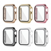 La fábrica de China CBWC9 Luxury Bling Diamond Glass Screen Screen Smart Watch Case para la cubierta de parachoques de Apple Watch para iWatch Series 6 5 4 3 SE